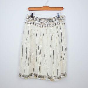 Zara A-Line Skirt Beaded Embroidery Cotton Linen